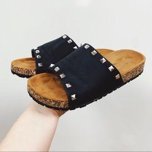 glaze   black slide studded sandals sz 7.5